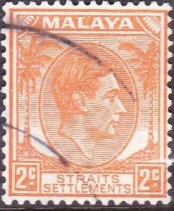 MALAYA STRAITS SETTLEMENTS 1941 KGVI 2 Cent Orange SG294 Used