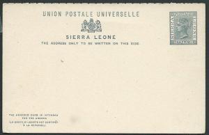 SIERRA LEONE QV 1½d + ½d Reply card fine unused............................40682