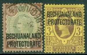 BECHUANALAND PROTECTORATE : 1897. Stanley Gibbons #63 VF, MOG, #64 VF, Used.