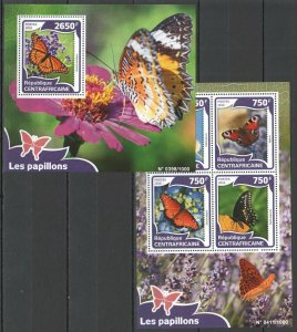 CA055 2016 CENTRAL AFRICA FLORA INSECTS BUTTERFLIES LES PAPILLONS KB+BL MNH