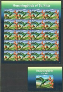 V1080 2015 ST. KITTS FAUNA BIRDS HUMMINGBIRDS MICHEL 27 EURO !!! BIG SH+BL FIX