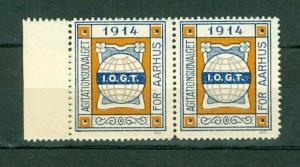 Denmark. Poster Stamp  Pair. With Margin.MNH. IOGT Order Templars 1914 Aarhus