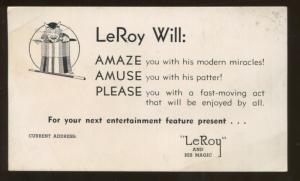 Magic Tricks Magician Illusionist LeRoy Will Post Card