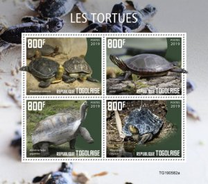 TOGO - 2019 - Turtles - Perf 4v Sheet - M N H