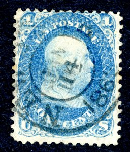 US #63 1861 1› Benjamin Franklin, blue. Used F/VF 1865 Cancel.