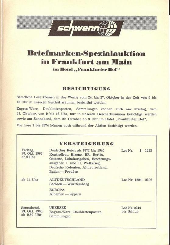 Schewnn:    Schwenn Briefmarken-Spezialauktion, Hartmott ...