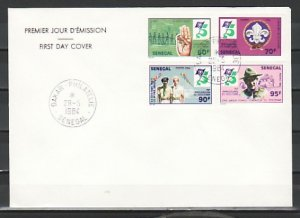 Senegal, Scott cat. 613-616. Scouting 75th Anniversary. Plain First day cover. ^