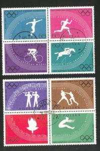 Poland Scott 914-921a MNH** 1960 Olympic Perforated CTO set