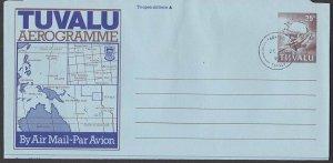 TUVALU 25c Map / UPU monument aerogramme cto 1998 Funafuti cds..............L461