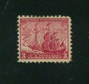 US 1934 3c carmine rose Maryland Tercentenary, Scott 736 MNG, Value = 30c