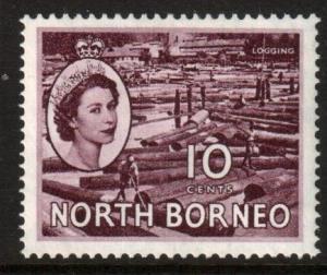North Borneo Scott 267 - SG378, 1954 Elizabeth II 10c MH*