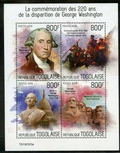 TOGO 2019  220th MEMORIAL  ANNIVERSARY OF GEO WASHINGTON  SHEET MINT NH