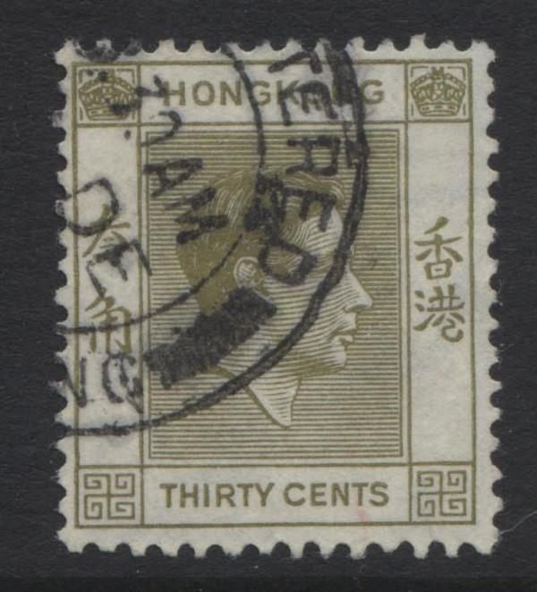 Hong Kong - Scott 161 - KGVI Definitive Issue- 1938 - FU - Single 30c Stamp