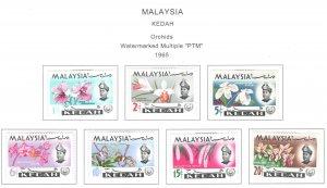 MALAYSIA Kedah Scott 106-112 MH* Orchid stamp set 1965