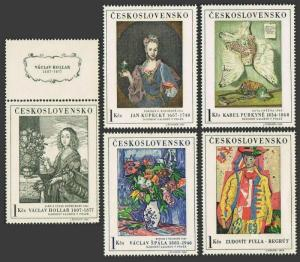 Czechoslovakia 1435-tab-1439,MNH.Michel 1668-1672. Paintings 1966.Hollar,Kupecky
