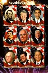 Benin 2009 US Presidents Lincoln Obama Bush JFK Clinton 9v Mint Sheet (L-85)