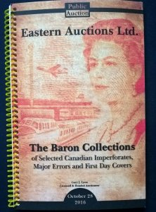 Auction Catalogue BARON COLLECTIONS of CANADA IMPERFORATES MAJOR ERRORS FDCs