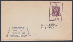 US Sc 708 on 1932 Cover w/ large blue Anchor Fancy Cancel of Hawthorne, Nevada