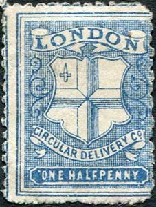 SGCD35 1/2d Deep Blue (Error of Colour) London Circular Delivery Stamp No Gum