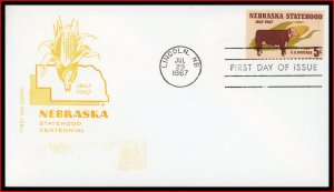 US FDC #1328 5c Nebraska Statehood - House of Farnam Cachet