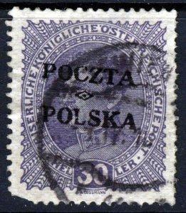 POLAND 1919 30H. Violet of Austria OVERPRINTED POCZTA POLSKA SG 38 VFU