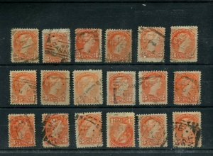 DATED SQUARED CIRCLE s 18x lot 3 cent Canada Small Queen used