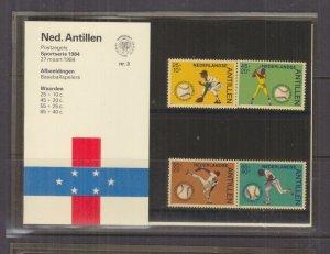 NETHERLANDS ANTILLES,1984 Baseball Federation set of 4, Folder 3
