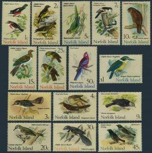 Norfolk 126-140,MNH. Birds from Book of Gregory Mathews,1970-1971.Robins,Parrots