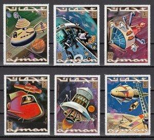 Ajman, Mi cat. 964-969 A. Space Research issue. ^
