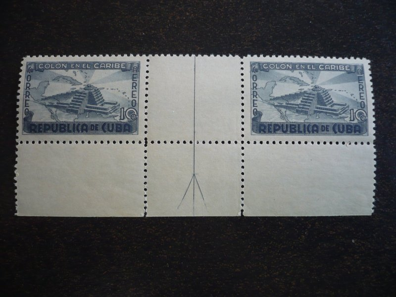 Stamps - Cuba - Scott# C37 - Mint Hinged Gutter Strip of 2 Stamps