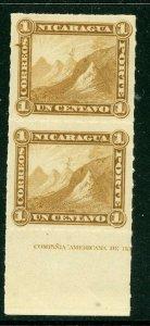 Nicaragua 1877 Momotombo 1¢ Roulette Pair MNH V569 ⭐☀⭐☀⭐