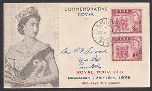 FIJI 1953 Royal Visit pair on commem FDC ex Lautoka.........................F922