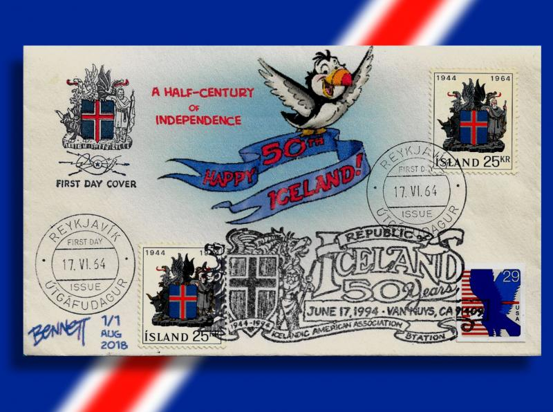 Iceland Uniquity -- Cacheted 1964 OFDC Celebrates 50th Anniv. of Independence!