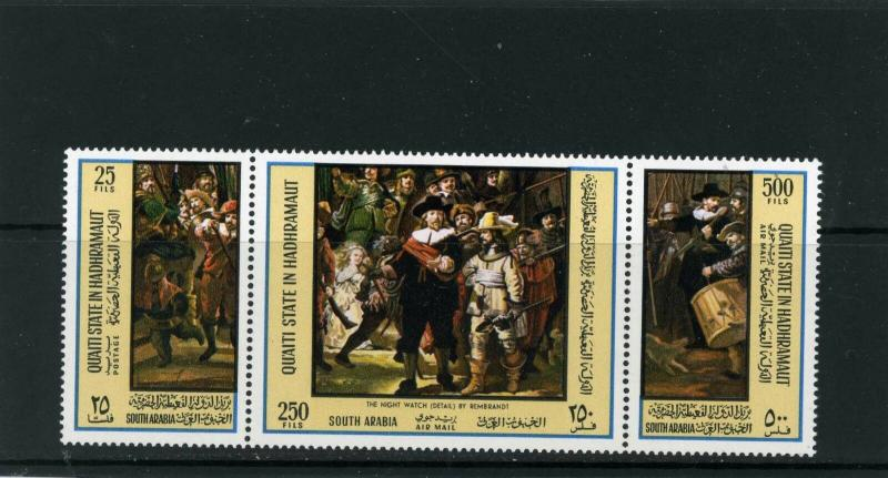 ADEN/QU'ATI 1967 Mi#165-167A PAINTING BY REMBRANDT STRIP OF 3 STAMPS MNH