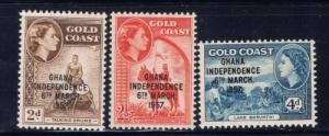 Ghana 25-27 NH 1957 Independence overprint