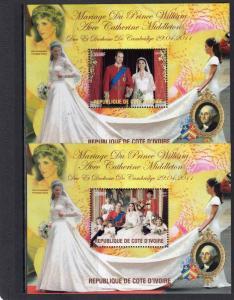 Ivory Coast  2011 Weeding Kate & William/Pippa/G.Washington 2 S/S MNH Perforated