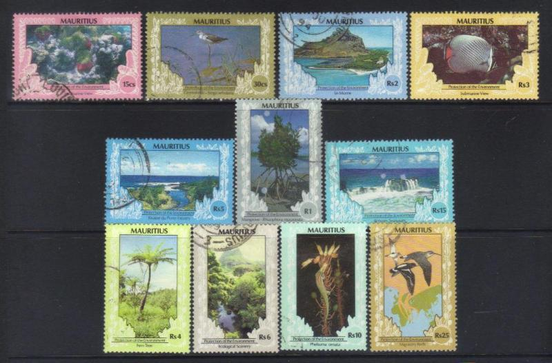 MAURITIUS  1989 PROTECTION OF THE ENVIRONMENT 11 USED VALUES CAT £12+