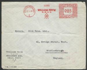 GERMANY 1933 cover red meter STOLBERG, William Prym........................57065