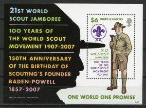TURKS & CAICOS ISLANDS -   SCOUTING 100TH ANNIVERSARY  2007   S534