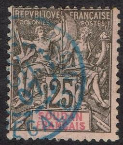 FRENCH SOUDAN 1894 PEACE AND COMMERCE 25C USED