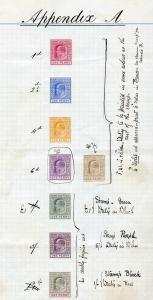 Bahamas KEVII 1902 Appendix sheet A with 8 Different Colour Trials (1d value)