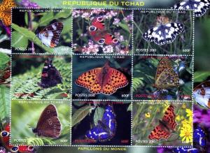 Chad 2010 Butterflies Sheet (9) Perforated mnh.vf