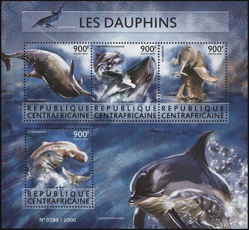 Central African Republic. 2015. Dolphins (MNH OG) Miniature Sheet