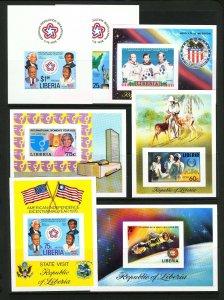 Liberia #769-#770,  #C193, #C206, #C208-09, #C214 Delux Imperf Error Souv Sheets