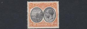 DOMINICA  1923 - 33   S G  77    2 1/2D   BLACK  &  ORANGE          MH