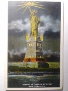 STATUE OF LIBERTY BY NIGHT NEW YORK CITY POST CARD POST MARKED PROVIDENCE 1921