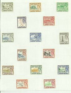 St Kitts & Nevis & Anguilla Set of 15, Hinged to page, Sg 106A-118 M/M {C/P-2}