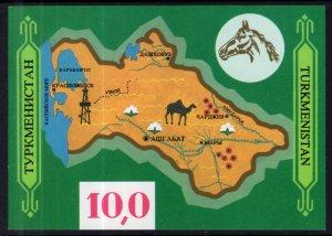 Turkmenistan 9 Map Souvenir Sheet MNH VF