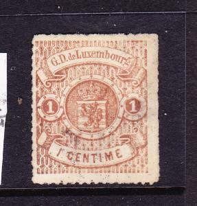 LUXEMBOURG  1865-71  1c  ARMS  FU  ROULETTE  Sc 13