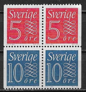 1961 Sweden block of 4 Numerals with (2) 513b & (2) 514a MNH SCV$50.00